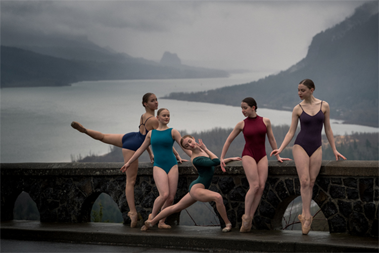 photo of dancers overlooking the Columbia Gorge